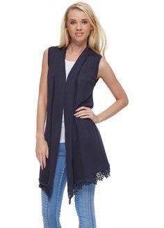 Laetitia Mem Navy Blue Fine Knit Waterfall Waistcoat With Lace Hem