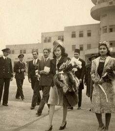 The Empress Fawzia, the first wife of Muhammad Reza Shah of Iran, on a return visit to Cairo. Fawzia was one of five sisters of king Farouk, she divorced the Shah, and settled in Cairo with her second husband Ismail Shirin.