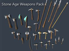 This package contains 31 low-poly game-ready stone age weapons with 9 handed painted textures.  -Axes -Pickaxes -Spears -Blades -Hammers  Each weapon has about 150-400 triangles.