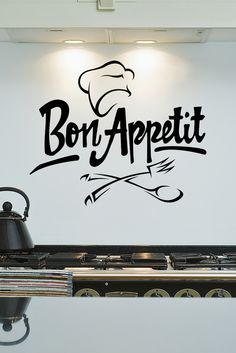 Spice up your kitchen with this Bon Appetit Chef Hat Wall Decal Kitchen Wall Decals, Vinyl Wall Decals, Wall Stickers, Deco Restaurant, Rustic Restaurant, Chef Kitchen Decor, Country Kitchen, Kitchen Design, Kitchen Quotes