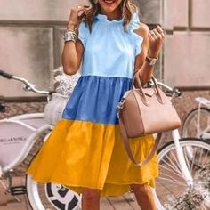 Simple Dresses, Beautiful Dresses, Short Dresses, Sleeveless Dresses, Summer Outfits, Summer Dresses, Summer Shorts, Look Fashion, Steampunk Fashion