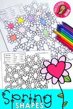 Spring Flower Shape Match.  Students find and color the flower shapes based on the coloring guide.  Free Printable from PreschoolMom.com via @craftyclassroom