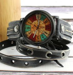 Leather Wrap Watch with multicolor watch face|Distressed black