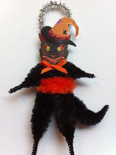 HALLOWEEN black cat witches hat vintage style by StanleyAndStewart, $6.00