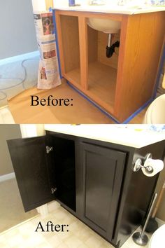 Gel stain is $15 here, which is much less than everything involved in replacing your sink's vanity. The project will take maybe three hours out of your weekend. Here's the full tutorial.