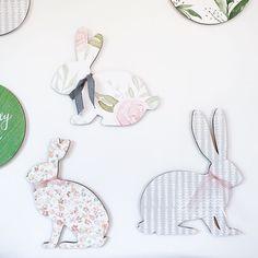 Circle Nursery Wall Art -Name Sign-Bunny-Deer - Under the Kentucky Sun Handmade Baby, Handmade Wooden, Handmade Items, Coral Pattern, Baby Name Signs, Woodland Nursery Decor, Bunny Rabbit, Nursery Wall Art, Kentucky