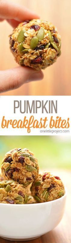 These no-bake pumpkin breakfast bites are SO EASY! Packed with pumpkin, pumpkin seeds and dried cranberries they taste amazing and actually keep you full! Great for breakfast on the go! (recipes for snacks chia seeds) Breakfast Bites, Breakfast Recipes, Snack Recipes, Cooking Recipes, Breakfast Energy, Breakfast Healthy, Breakfast Muffins, Health Breakfast, Healthy Brunch