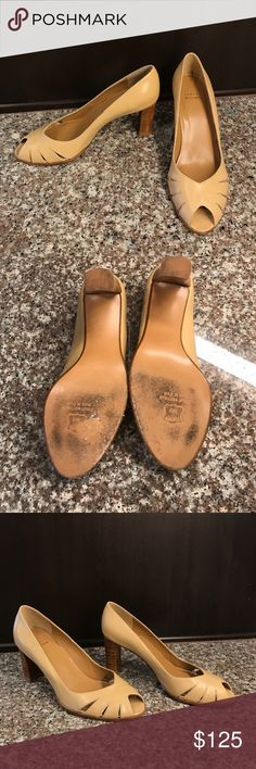 """Stuart Weizmann Tan Peeptoe 7 This is a beautiful pair of Stuart Weitzman heels. They are a classic tan with a stacked 3"""" heel. Worn a handful of time. Slight wear on right(driving) shoe.. shown in last pick. Please ask if you have questions! Stuart Weitzman Shoes Heels"""