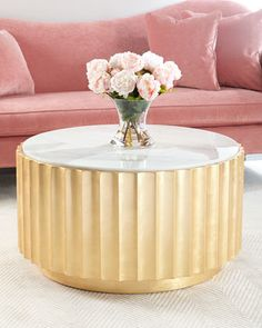 """Handcrafted coffee table. Wood base with gold-leaf finish. Marble top. Assembly required. 36.75""""Dia. x 20""""T. Imported. Boxed weight, approximately 171 lbs."""
