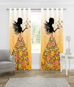 Kids Living Rooms, Living Room Tv Unit, Bed In Living Room, Pink Curtains, Printed Curtains, Curtains Living, Room Design Bedroom, Curtain Designs, Dream Decor