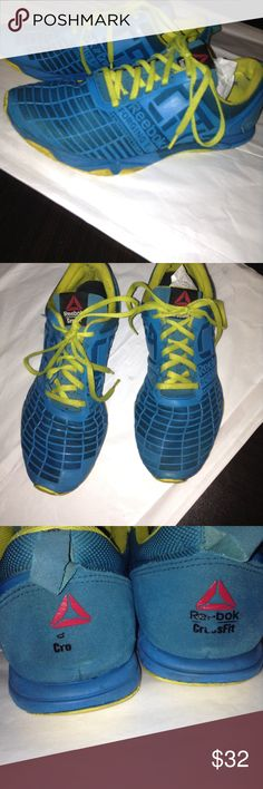 Reebok Crossfit Sprint blue yellow shoes 8.5 Used condition. I think if you threw them in the washing machine they would look new. Please note wear on the sole in the heel area. Size 8.5 Reebok Shoes Athletic Shoes