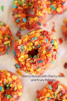 Baked Cherry Cake Donuts w/ Cherry Glaze and Fruity Pebbles! Super easy and 25 minutes start-to-finish!