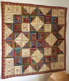 "Annette's Log Cabin Star Quilt - Blocks are 4 1/2"" finished.."
