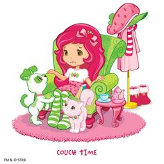 Couch time with Strawberry Shortcake.