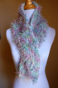 Hand knitted aqua rose teal cowl with fuzzy fun fir by pauladyer1, $20.00