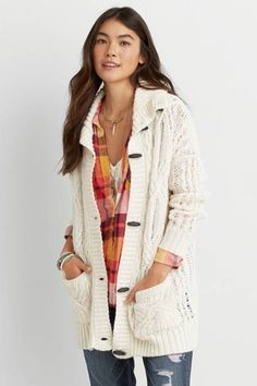 AEO Cable Knit Toggle Cardigan  by AEO | Warm up to layers of style. Featuring toggles
