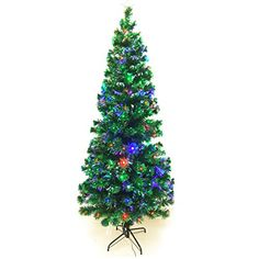 signstek 8ft artificial seasonal decoration fiber optic christmas tree with 300 multicolor changing led lights and - 75 Ft Pre Lit Christmas Tree