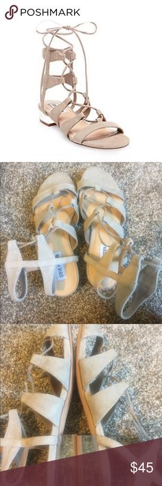 Steve Madden Chely size 7.5 Worn once. Taupe suede. Clear heel. Gladiator Steve Madden Shoes Sandals