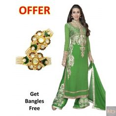 Georgette Suits in Green Salwar Kameez Online, Green Party, Anarkali Suits, Handicraft, Green Colors, Party Wear, Fashion Accessories, Saree, Color 2
