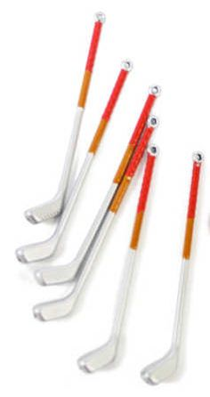 Miniature set of golf clubs.