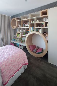 Here is another combination kids bedroom with a reading nook along the bedroom wall (the lower circle). Asymmetrical shelves and circles. The lower circle by the floor becomes a reading nook. I want this in my room! Teen Girl Bedrooms, Small Bedrooms, Childrens Bedrooms Girls, Girls Bedroom Ideas Teenagers, Teenager Rooms, White Bedrooms, Kids Girls, Baby Kids, Deco Kids