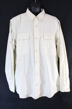Men's ExOfficio Insect Shield Long Sleeved Beige Vented Button Up Shirt XL #ExOfficio #ButtonFront