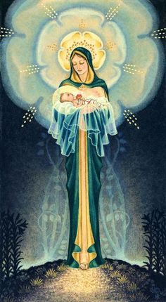 Our Lady. After some googling, it appears that the artist was Sr. Marie Pierre Semmler, M.M. 1901-1993 and the piece is entitled Mystical Rose.