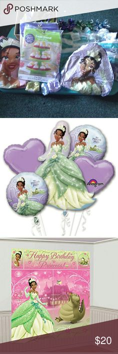 Princess Tiana themed Party supplies 6- balloon weights-2green 2purple 2blue/ 1-6ft 5 piece tiana Scene Setter: light vinyl, not self adhesive/1-purple 3 tier treat stand: jeweled/1-green 3 tier treat stand: jeweled/3 curling ribbon-1green 1blue 1purple / 1 -box of already made streamers:1 roll Tiana HBD streamer, 1 roll blue streamer, 1 roll purple streamer/4-12pk purple balloons:2 opened 12+/3-12pk blue balloons:2 opened -1/3-12pk green balloons: unopened/1-32in tiana shaped sparkle mylar…