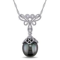 Diamond & Black Tahitian Pearl Pendant Necklace 14k White Gold (9-9.5mm) - Allurez.com