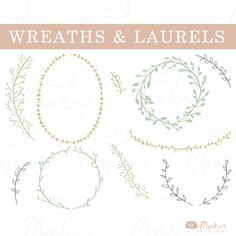 Wreaths & Laurels - Watercolor Clip Art - Digital Graphic Set - Photo Overlays