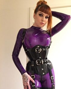 Loving this purple colour catsuit from hw_design_latex #psylockemodel #inked #latex #corset #ginger #redhair #latexcatsuit