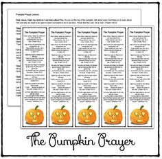 The Pumpkin Prayer Bookmarks and Lesson {Printable} : Half a Hundred Acre Wood Sunday School Lessons, Sunday School Crafts, Object Lessons, Bible Lessons, Pumpkin Poem, Christian Halloween, Childrens Sermons, Children Ministry, Youth Ministry