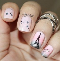 Pink and Eiffel Tower – romantic French manicure