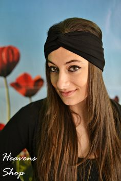 Black Headband Yoga Headband Workout Headband Twist by HeavensShop