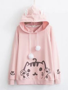 Japanese Soft Sister Warm Sweet And Lovely Cat Long Sleeved Hooded Hoodie  Winter Solid Color Loose All-match Plus Velvet Hoodie. 581b6d939