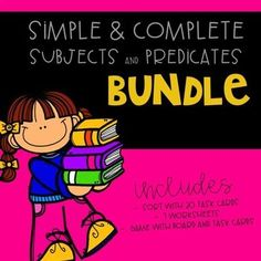 Simple and Complete Subjects and Predicates BUNDLE. 7 worksheets, A scoot with 20 task cards and a game with 48 cards Learning Resources, Fun Learning, Teacher Resources, Teaching Ideas, Classroom Activities, Interactive Activities, Beginning Reading, Teaching Reading