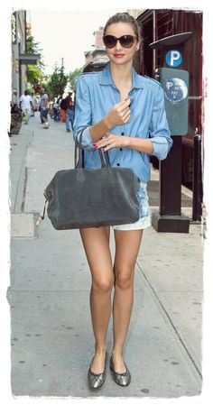 #Miranda #Kerr Street Style Snapshot - Embrace Chambray | Miranda Kerr Street Style Snapshot - Embrace Chambray If chambray isn't already in your off-duty mix, add it! Miranda Kerr's casual denim shirt gets a flash of femininity with simple ballet flats.