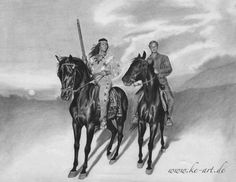 Pierre Brice as Winnetou and Lex Barker as Old Shatterhand - Pencildrawing by Katja Eichhorn