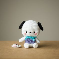 """See the making of my favourite Sanrio character, the sweet pup Pochacco! Pattern via Amigurumei's """"Hello Kitty Crochet"""" book!"""