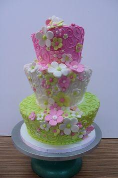 topsy turvy swirls flowers pink green by CAKE Amsterdam - Cute