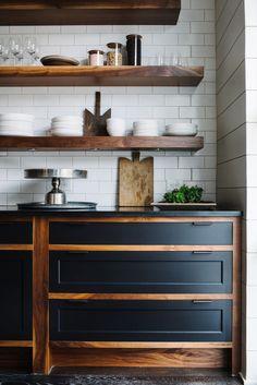 Image result for dark benchtop dark floors timber shelving