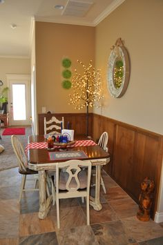 Dining room. Non-traditional red, white and blue decor. Nature inspired. By Sharon McBride of All That Nonsense