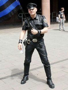 Leather Cop.
