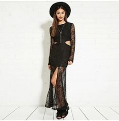 Sheer Slit Hollow Waist Long Sleeve Lace Maxi Dress