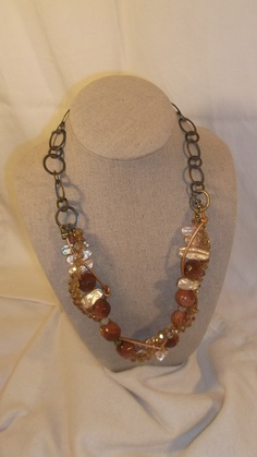 Crystal Metallic Leather Sunstone Biwa Pearl by bellarose0417, $45.00