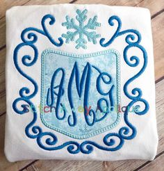 Ice Queen Monogram Frame Machine Applique by StitchAwayApplique Queen Frame, 2nd Birthday Outfit, Frozen Kids, Machine Applique Designs, Monogram Frame, Ice Queen, Embroidery Files, Aztec, Stitch