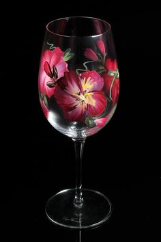 Hand Painted Crystal Wine Glasses l by BFLCreativeDesigns on Etsy, $18.00