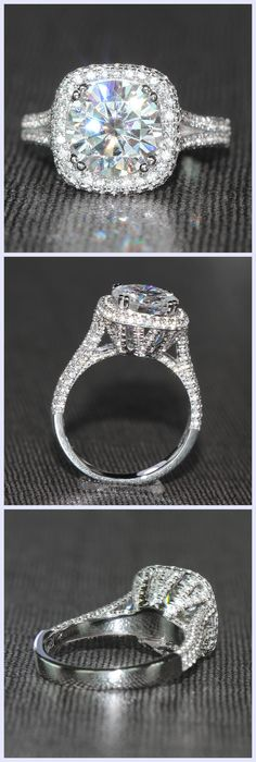 TransGems 3 Carat Moissanite Ring with Genluine Diamond Accents