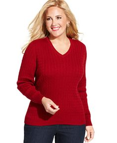 Karen Scott Plus Size Cable-Knit V-Neck Sweater.  Color:  Deep Pacific or Red.  Red is really nice. ;)