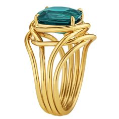 http://rubies.work/0536-sapphire-ring/ Tiffany & Co. Schlumberger Indicolite Tourmaline Gold Ring. This 3.68 carat cushion cut indicolite tourmaline is the velvety blue/green color of a royal peacock. Mounted atop four 18 karat yellow gold organically intertwined gold ropes, this precious gemstone's color is dreamy to look at and magical to wear